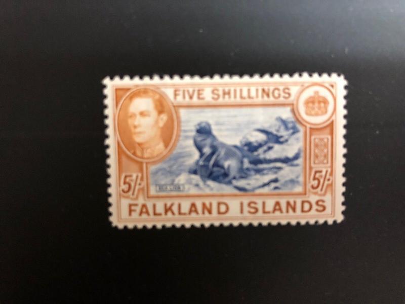 Falkland Islands Gibbons 161b Indigo  Original Gum Lightly Hinged Cat. 1100 Lb's