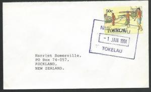 TOKELAU IS 1991 cover to NZ, scarce boxed NUKUNONO datestamp...............11513