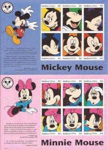 Maldives - 1999 Mickey & Minnie Mouse - 2 6 Stamp Sheets - 13E-469