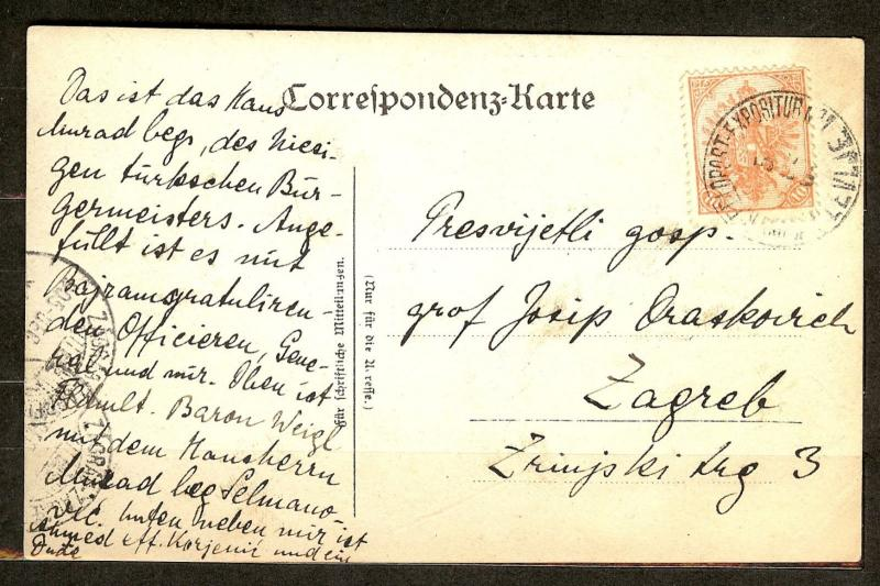 AUSTRIA Bosnia / Montenegro 1905.  POSTCARD 10 heller from Plevlje real photo