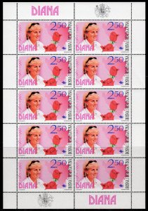 BOSNIA & HERCEGOVINA 1997 Diana In Memory  MINI-SHEETLET (10) MNH