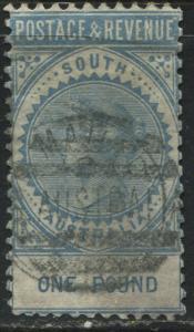 South Australia QV 1886 £1 blue perf 10 used