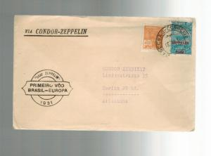 1934 Brazil Graf Zeppelin cover to Condor Syndicate Germany with flight card