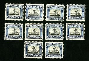 US Stamps # 621 F-VF Lot of 10 OG NH Catalog Value $190.00