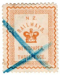 (I.B) New Zealand Railways : Newspaper Stamp 3d