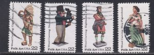 U.S. # 2240-2243, Woodcarved Figurines (Folk Art) Used set of singles