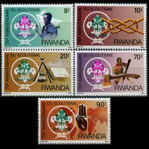 RWANDA 1985 - Scott# 1237-41 Girl Scout Opt. 8-90f NH