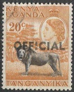 TANGANYIKA  1959 Sc O4 20c Used VF  Official stamp, Lion