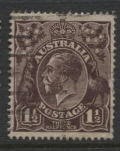 Australia - Scott 24 - KGV Head -1914 - FU - Wmk 9 - 1.1/2p Stamp1