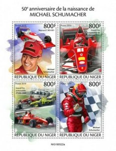 Niger - 2019 Racing Driver Michael Schumacher - 4 Stamp Sheet - NIG190522a