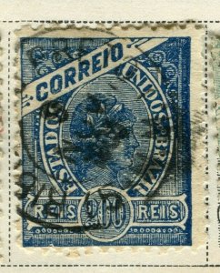 BRAZIL; 1894-97 early definitive Liberty issue used 200r. value