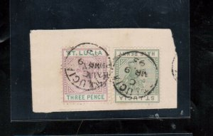 St Lucia #40c (SG #56b) Very Fine Used Inverted Surcharge On Piece *With Cert.*