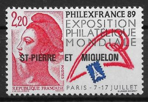 St.Pierre & Miquelon 1988, Stamps Expo, Scott # 510,VF MNH**OG (SL-1)
