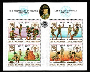 Cook Is.-Sc#709- id2-unused NH sheet-Boy Scouts-Jamboree-1983-