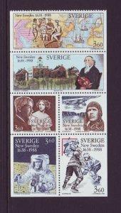 Sweden Sc 1667a 1988 New Sweden ( Delaware) stamp booklet mint NH