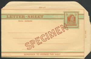 AUSTRALIA QE 5d Letter Sheet optd SPECIMEN.................................60211