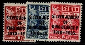 SAMOA GV SG177-179, SILVER JUBILEE set, M MINT.