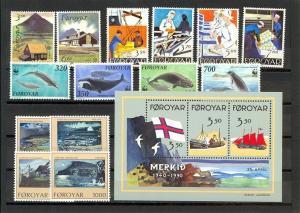 Faroe Islands Scott 201-215 (1990 Year Set)