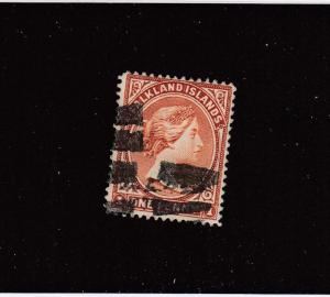 FALKLAND ISLANDS # 11 VF-USED 1p  QUEEN VICTORIA / ORANGE BROWN CAT VALUE $80
