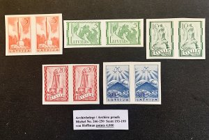 Latvia Proof Stamp Pairs 1937 MNH VF/XF Scarce