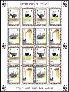 Chad Birds WWF North African Ostrich Sheetlet of 4 sets MI#1370-1373 SC#693 a-d