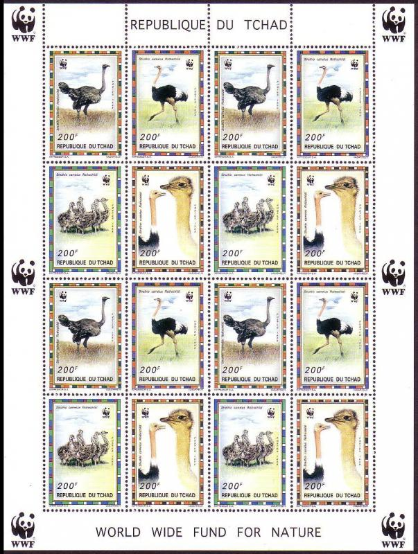 Chad WWF North African Ostrich Sheetlet of 4 sets SC#693 a-d MI#1370-73
