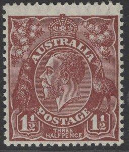 AUSTRALIA SG97 1930 1½d RED-BROWN p13½x12½ MNH