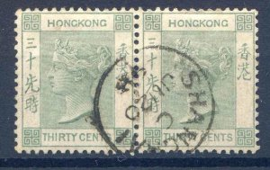 Hong Kong 1882 30c Green SGZ802 Fine Used Pair