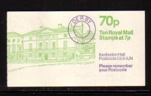 Great Britain Sc BK327 Kedleston Halll 70 p booklet NH