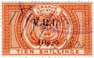 (I.B) Orange Free State Revenue : Duty Stamp 10/- (VRI)