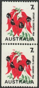 Australia 1971 QEII 7c Desert Pea Coil Pair Missing Buff Misplaced Green MUH