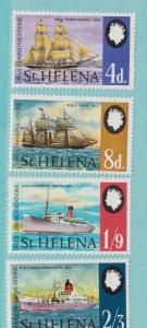 St. Helena Scott #224 To 227, Ships, Dependence on Sea Mail Issue From 1969, ...