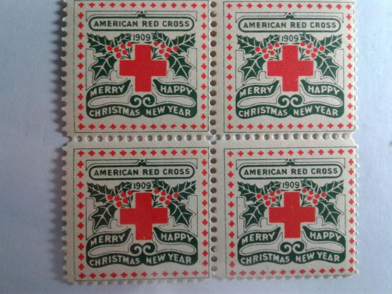 1909 CHRISTMAS SEALS BLOCK OF 4 MINT NEVER HINGED GEMS !! GREAT FIND !!