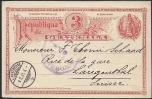 GUATEMALA 1891 3c postcard used to Switzerland............................48942