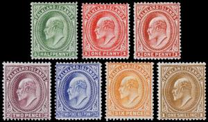 Falkland Islands Scott 22, 23, 23b-27 (1904-1907) Mint H-LH F-VF, CV $192.00 B