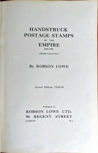 1938 HANDSTRUCK POSTAGE STAMPS OF THE EMPIRE Robson Lowe Postal History Pmks.
