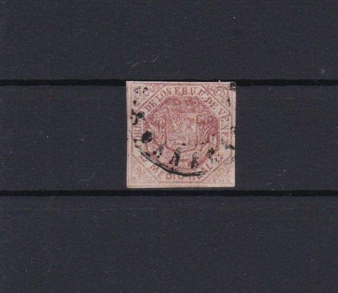 VENEZUELA 1866 IMPERF STAMP USED ½ REALE RED   REF 6234