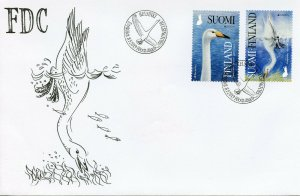 Finland 2019 FDC Birds Europa Whooper Swan 2v S/A Set Cover Swans Stamps