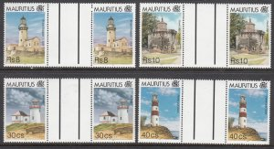 Mauritius, Sc 809-812 (4), MNH, 1995, Lighthouses, Gutter Pairs
