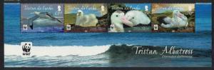 Tristan da Cunha WWF Albatross Bird Bottom strip of 4v WWF Logo SG#1063-1066