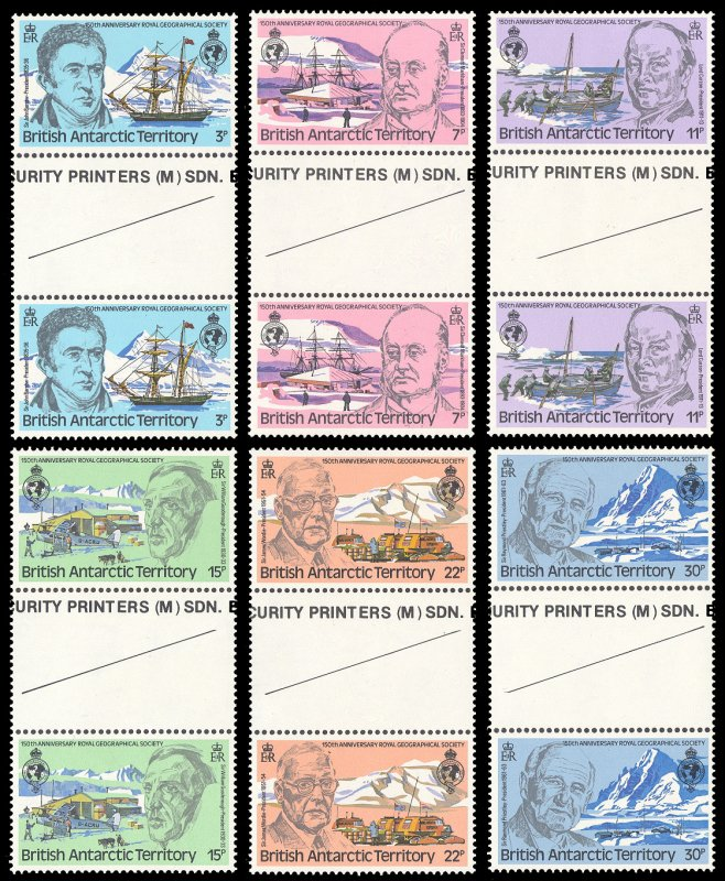 British Antarctic Territory 1980 Scott #76-81 Gutter Pairs Mint Never Hinged