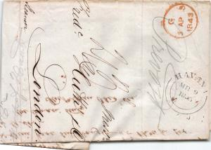Cuba, 1843 Stampless Cover, sent from Havana to London, Great Britain