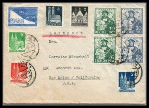 Germany Scott 662,663 Mi.103,104 1949 Herman Hildebrandt Wedigh Airmail cover