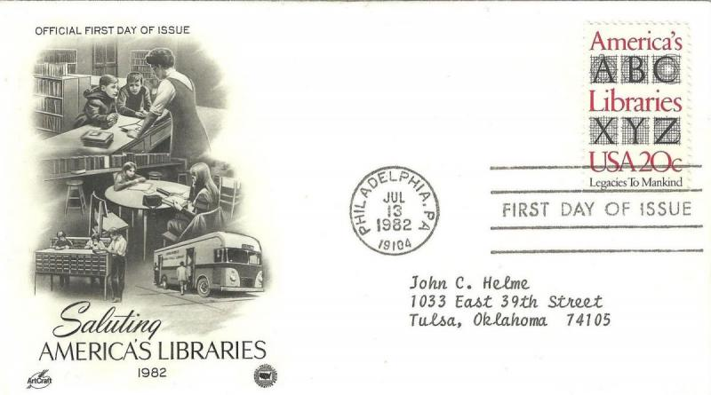 U.S. 1982 SALUTING AMERICAS LIBRARIES #2015 on ArtCraft / PCS FDC Cachet (TA2...