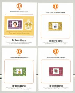 Grenada Grenadines #270-73 Queen Elizabeth Coronation 3v & 1v s/s imperf proofs