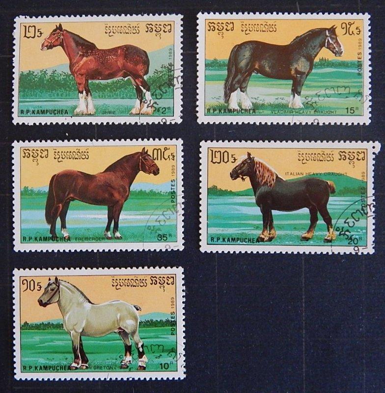 Horses, Cambodia, Kampuchea, (2316-Т)