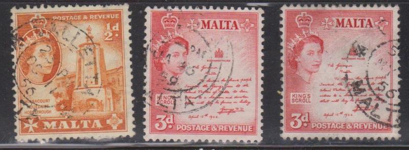 MALTA Scott # 247, 252 x 2 Used - QEII & Aquaduct & Scroll