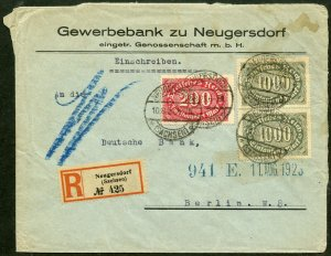 GERMANY INFLATION PERIOD REGISTERED  COVER NEUGERSDORF 10.8.23  TO BERLIN