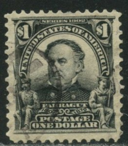 US Sc#311 1903 $1 Farragut Almost VF Centered Used with Light Cancel