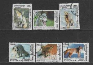 CAMBODIA #2143-2146 2001 DOGS MINT VF NH O.G CTO